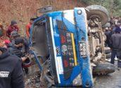 बस दुर्घटनामा २ जनाको मृत्यु, ३५ जना घाइते